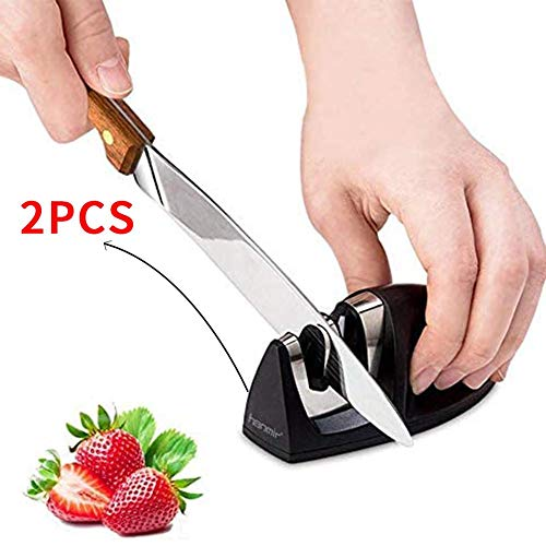 LOO LA Messerschärfer Küche Manuelle Messerschärfer, 2-Stage Rapid Sharpening Messer Hones & Polishes Gezahnte, Mouse Shape