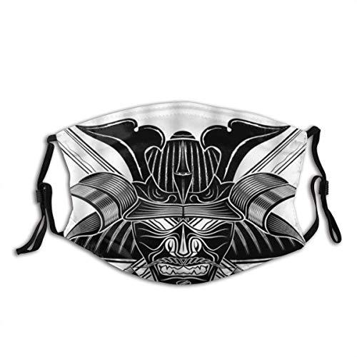 Gesicht Mas-Ke Schwerter Samurai Helm Krieger Gesicht Schal Samurai Japanischer Stil Tattoo Sturmhaube Unisex Mund Bandanas Motorrad Laufen