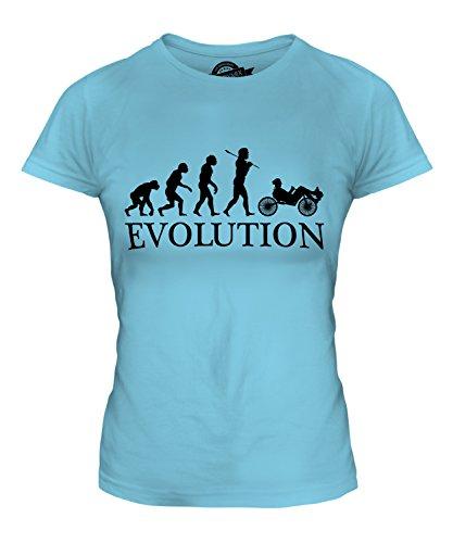 Candymix Liegerad Evolution des Menschen Damen T Shirt, Größe X-Small, Farbe Himmelblau