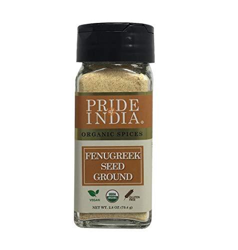 Pride Of India - Organic Fenugreek Seed Ground - 2.8 oz (80 gm) Small Dual Sifting Jar - Authentic Indian Vegan Spice - Gluten & GMO
