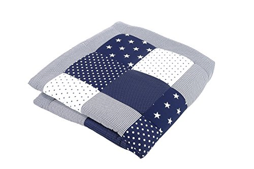 ULLENBOOM ® Baby Krabbeldecke Blaue Sterne (140x140 cm Baby Kuscheldecke, ideal als Laufgittereinlage, Spieldecke, Motiv: Punkte, Patchwork)