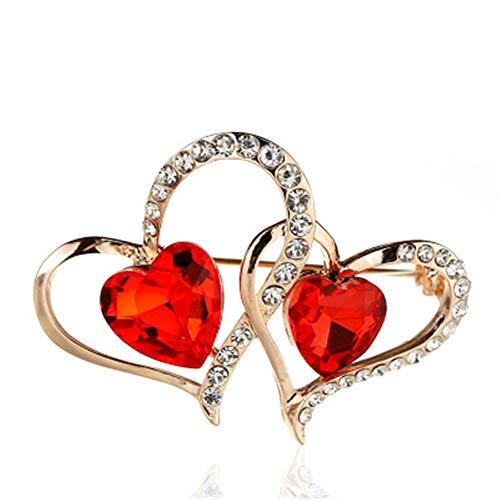Broche Nigoz para mujer, diseño de corazón de piedra roja, para boda,...