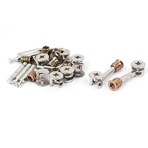 Aexit 10 Nägel, Schrauben & Befestigungen Set Schraubverschraubungen Verbindungsbolzen Sets mit Schrauben & Muttern Exzentrische Nockenradmutter