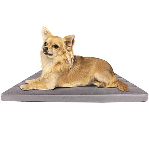 Small Dog Bed 23.6in Pet Beds Washable Soft Crate Pad Mat Anti Slip Dog Sleeping Mattress with Thicker Removable Cover, Grey S