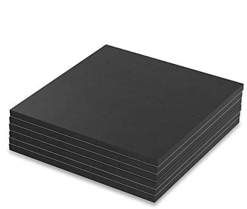 """Melife Neoprene Rubber Mats, 6"""" x 6"""" Adhesive Foam Padding Weather Stripping Non-Slip Furniture Pads Black Rubber Insulation Anti-Vibration Pads. (6 Pack)"""