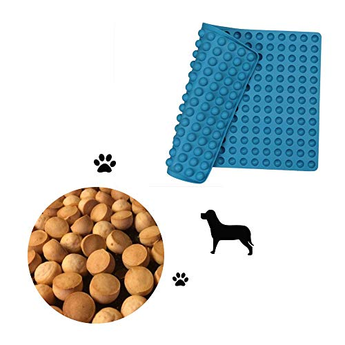 Hieagle Backmatte für Hundekekse mit Noppen Backunterlage aus Silikon Hitzebeständig 240°C Lebensmittelecht (BPA-frei)| Antihaftbeschichtet Backform, 40x28cm (blau, 1,5cm)