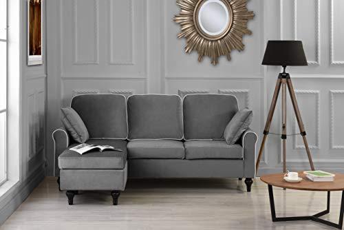 Divano Roma Furniture Madison Sectional, Grey