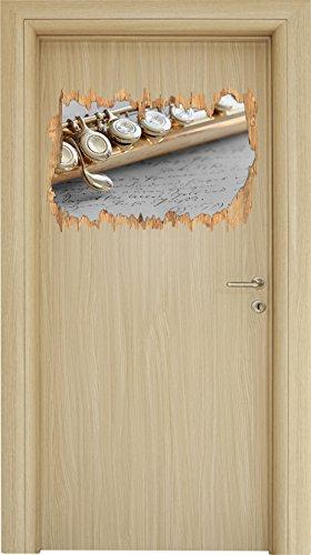Detailaufnahme Einer Querflöte Schwarz/Weiß Holzdurchbruch im 3D-Look, Wand- oder Türaufkleber Format: 62x42cm, Wandsticker, Wandtattoo, Wanddekoration