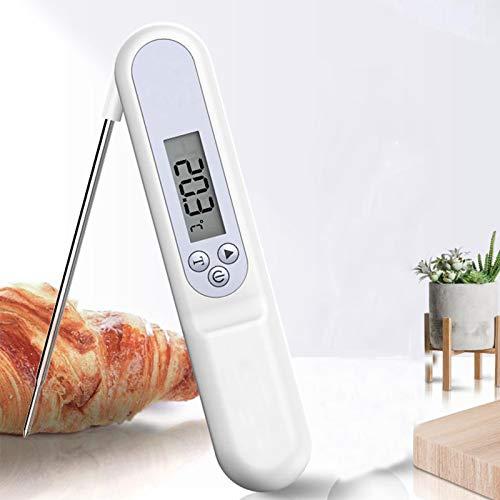 XJJ-Termómetro Cocción Digital Lectura Instantánea, con Luz Fondo LCD Impermeable, Sonda Larga Plegable, para Cocina Carne Leche Agua Parrilla Agua (Blanco)