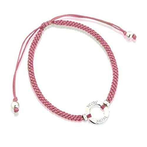 Lovethelinks Sterling Silver Friendship Bracelet with 'Mum' and Silk Adjustable Strap - Salmon Pink