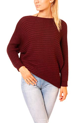 Easy Young Fashion Damen Pullover Fledermaus Strickpullover Oversize Look Grobstrick Sweater Gerippt One Size Bordeaux