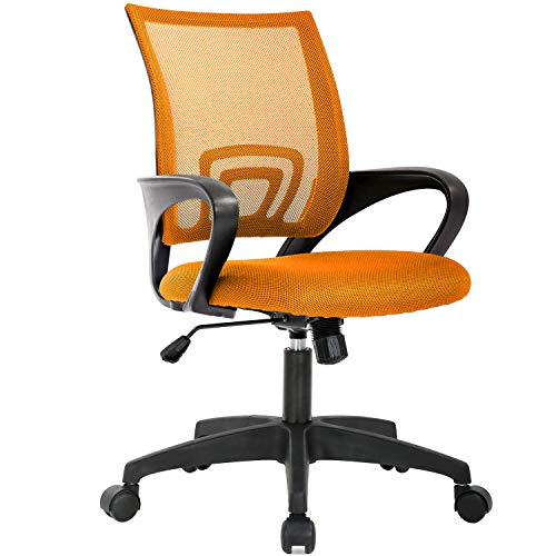Home Office Chair Ergonomic Desk Chair Mesh Computer Chair with Lumbar Support Armrest Executive Rolling Swivel Adjustable Mid Back Task Chair for Women Adults (Orange)