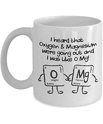 koffiemok ik hoorde dat zuurstof en magnesium gingen uit en ik was als O Mg Chemie koffiemok wit porselein Cup unieke geschenken thee mok 330Ml