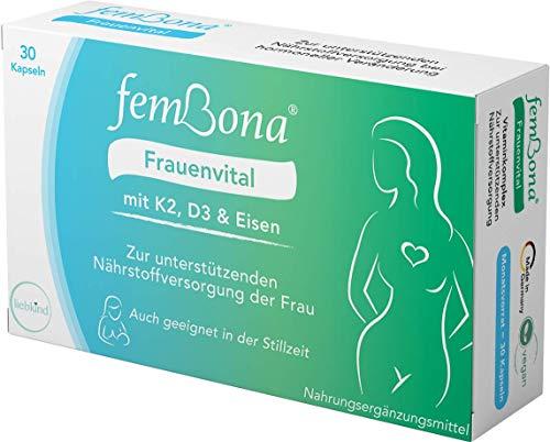 femBona® Frauenvital - für STILLZEIT & Alltag - K2, D3, Eisen, Jod, Magnesium, B12, B6 - wichtigsten Vitamine - keine Zusätze