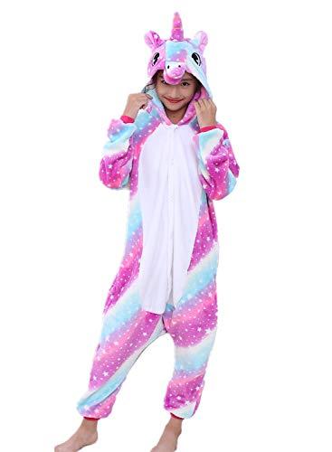 Re-MissErwachsene Unisex Einhorn Tiger Lion Fox Onesie Tier Schlafanzug Cosplay Pyjamas Halloween Karneval Kostüm Loungewear, Mehrfarbig Unicorn Star-sky New, L passt Höhe 165-175cm