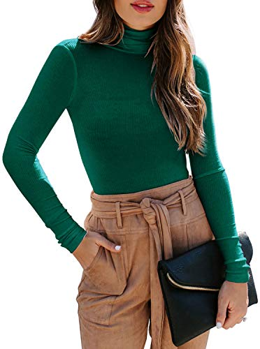 Women's Long Sleeve Ribbed Turtleneck Leotard Stretchy Sweater Bodysuit Basic Tops Jumpsuits Army Green Small