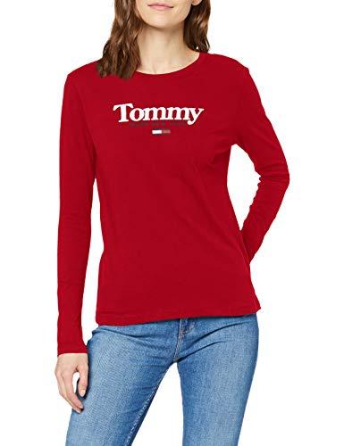 Tommy Jeans Damen TJW Essential Logo Longsleeve Hemd, weinrot, XS