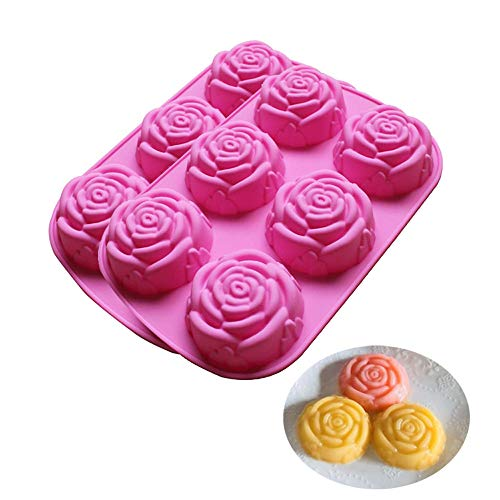 BAKER DEPOT Silicone Mold for Handmade Soap, Cake, Jelly, Pudding, Chocolate, 6 Cavity Rose Design, Set of 2