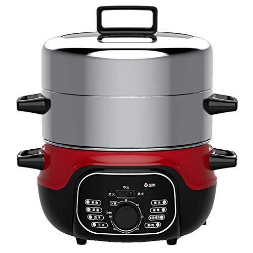 Stainless Steel 2-Layer Electric Steamer, 1360W, 2 lagen 14 liter, Groentestomer for Timer Cooking - maken van gezonde maaltijden, rijst, vlees, eieren, groenten AQUILA1125