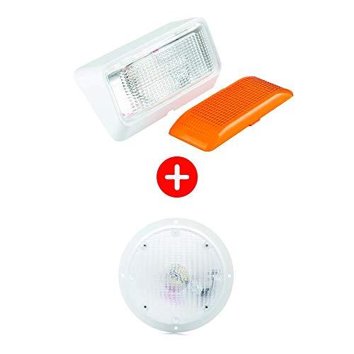 Lumitronics RV 12V LED Porch Light and LED Surface Mount Scare Light Bundle (White)