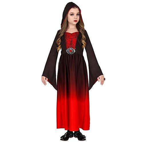 Amakando Kapuzenkleid für Mädchen Grufti / Rot-Schwarz in Größe 158, 11 - 13 Jahre / Dark Wave Outfit Hexe Vampir / Passend gekleidet zu Halloween & Horror-Party