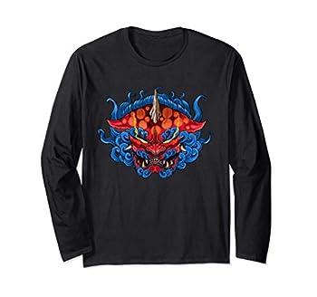 Neojapanese Neotraditional Oriental Tattoo Foo Dog Long Sleeve T-Shirt