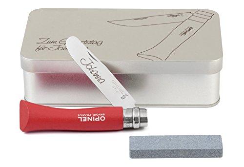 Opinel Kinder-Taschenmesser rot Geschenkdose inkl. Schleifstein und Wunschgravur auf Klinge + Dose