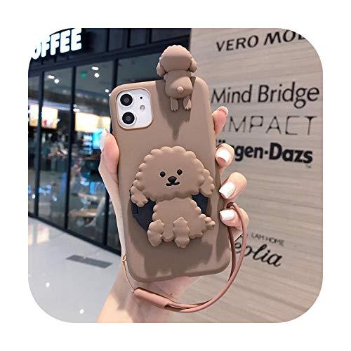 Per iPhone 12 11 Pro Max XS Max X XR 6 6S 8 7 Plus SE 2020 Cute Teddy Dog Makeup Mirror Phone Case Cover-1-Per iPhone 6 6S