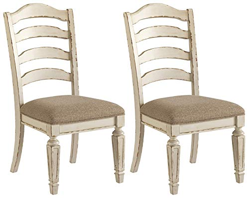 Signature Design by Ashley Realyn Dining Room Chair Set of 2, Chipped White