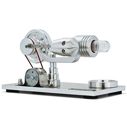 DjuiinoStar Hot Air Stirling Engine, Solid Metal Construction, Electricity Generator (Light up Colorful LED), My First Stirling Engine