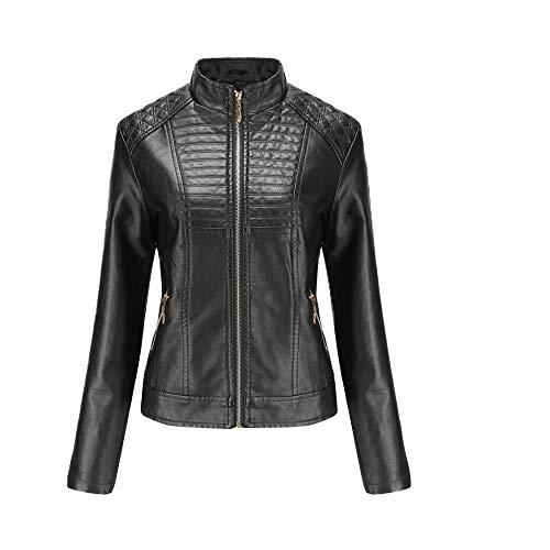 WULAU Chaqueta para Mujer Imitación Cuero Moto Cazadoras Chaqueta de Motorista Entallada