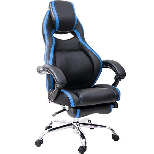 Merax Racing Chair Gaming Chair Ergonomic Computer Chair PU Leather Swivel Office Chairs with Adjustable Lumbar Support Executive Swivel High Back Multifunction PU Reclining Sleeping Chair with Arms