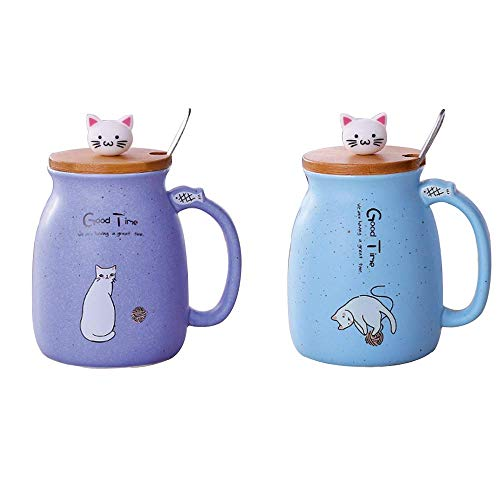 Lifemaison Cat Keramik Becher hitzebeständige Tasse mit Löffel Deckel Drinkware Kinder Geschenk mit Cartoon Katze Deckel Milch Kaffee Keramik Kinder Becher Büro Paar Tasse 420 Ml (Lila+Blau)