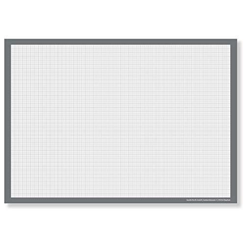Millimeterpapier DIN A3 Schreibtischunterlage (Groß) - Papier Block Zeichenblock zum Abreißen - Unterlage kariert für Schreibtisch im Büro - Tischunterlage Weiß - Technischer Zeichenblock