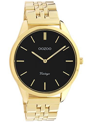 Oozoo Reloj de mujer vintage con pulsera de eslabones de acero inoxidable plana de 38 mm, negro/dorado C9987