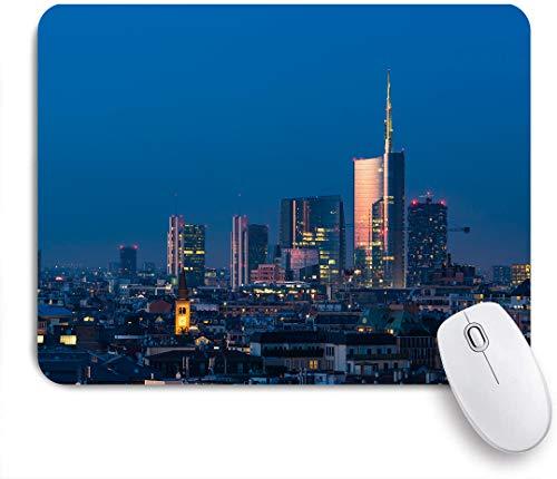 SUHOM Gaming Mouse Pad Rutschfeste Gummibasis,Mailänder Stadtbild bei Sonnenuntergang Porta Nuova Finanz- und Geschäftsviertel,für Computer Laptop Office Desk,240 x 200mm