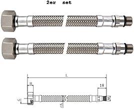 Homologaciones para agua potable ha KTW y aprobaci/ón DVGW 2 Piezas DN 8 Hembra 3//8 Longitud 300mm Macho 1//2 BENE Latiguillo Inoxidable Conexion Flexible