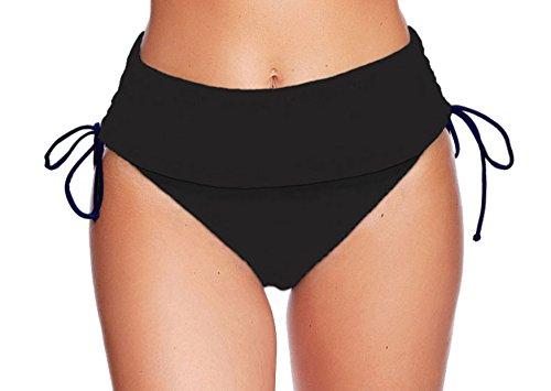 Damen Schwimm-Badeslip / Bikini Slip / Badehose / Baderock mit integriertem Slip Schwarz verschiedene Varianten und Größen f5384 Farbe: S16(sw) Bikini Slip Black, Gr. 48