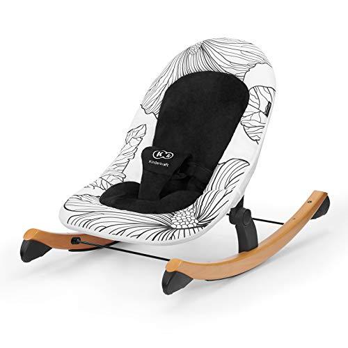 Kinderkraft Babyliege FINIO, Babywippe aus Holz, Licht, Einfach zu Transportieren, mit Liegefunktion, Verstellbare Sicherheitsgurte, Plüsch bedeckt, Sicherheitszertifikat INTERTEK, Schwarz