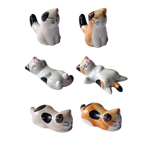 YARNOW 6 Pezzi Bacchette Poggia Ceramica Carino Forma di Gatto Cucchiaio da Pranzo Supporto Forchetta Supporto Cremagliera Bacchette Utensile Posate Supporto Rack