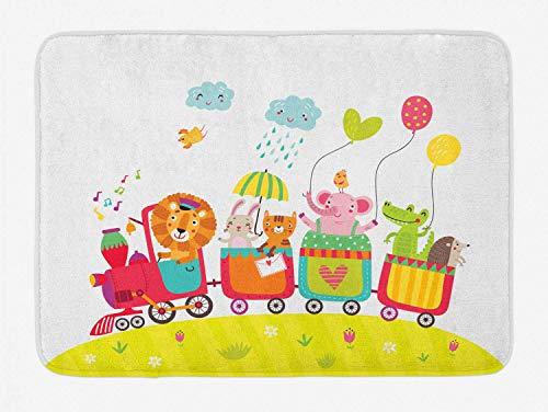 Alfombra de baño Infantil, Dibujo Infantil de Dibujos Animados con Animales en carros Elephant Gator Lion Bunny Hedgehog, Alfombrilla de baño de Felpa con Respaldo Antideslizante, Multicolor