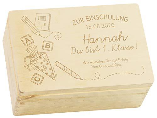 LAUBLUST Holzkiste mit Gravur - Personalisiert mit ❤️ Datum | Name | WIDMUNG ❤️ - Naturbelassen, Größe M - Schultüte Motiv - Geschenkkiste zur Einschulung