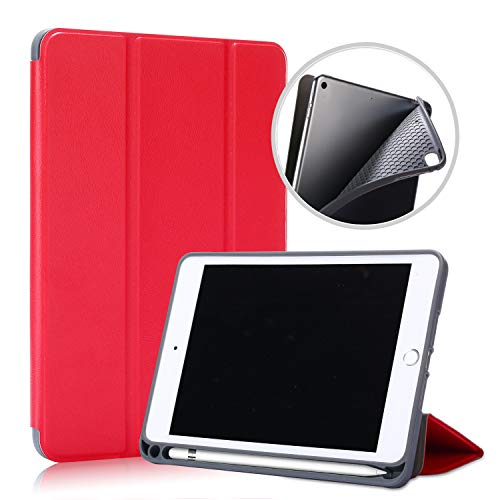Awenroy Funda para iPad Mini 5 2019/iPad Mini 4 2015 Release Durable Ultra Slim Ligero Función de Soporte Protectora Plegable Smart Cover con Apple Pencil Holder - Rojo