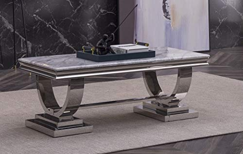 Modernique 120 cm Marble FLAVIO Marble Coffee Table with Polished Stainless Steel Frame