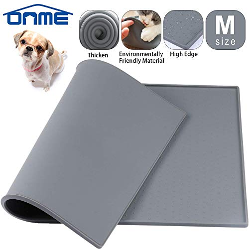 ONME Dog Cat Feeding Mat, FDA Grade Silicone Waterproof Pet Food Mat, Dog Cat Food Mat, Non Slip Dog...