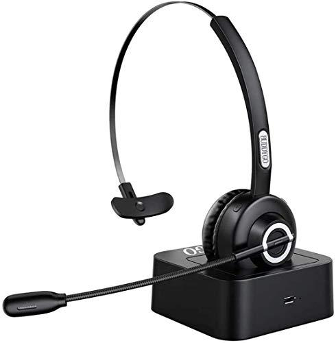 BUDDYGO Bluetooth Kopfhörer v5.0, Wireless Headset Bluetooth mit Mikrofon und Ladestation, Freisprechen, Bluetooth Funk Kopfhörer mit Rauschunterdrückung Ohrhörer für Spiele, Musik, Geschäftsanrufe