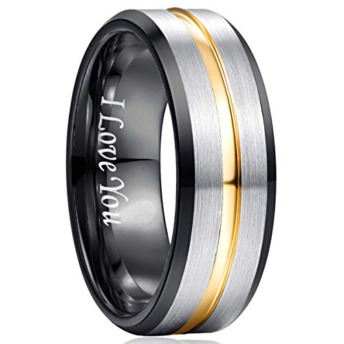 NUNCAD Ring Herren/Damen Gravur I Love You, Wolfram Unisex Ring 8mm Breit Fashion Schmuck Ring für Hochzeit, Verlobung, Größe 52 bis 72