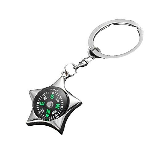 VI. Yo Mini-Kompass Metall Star Tragbarer Kompass für Wandern Camping Outdoor Liquid gefüllt mit Schlüsselanhänger Ring Kette