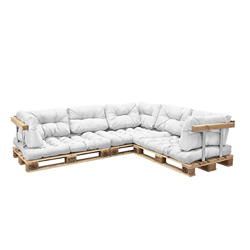 [en.casa] Sofá de palés - europalés de 5 plazas con Cojines - (Blanco) Set Completo, incluidos apoyabrazos y respaldos