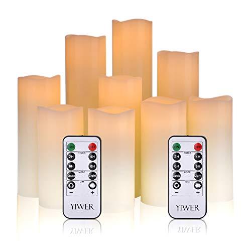 YIWER LED Velas sin Llama 4'5' 6'7' 8'9' Juego de 9 Pilas de Cera Real no de plástico 10 Teclas con 2/4/6/8 Horas Función del Temporizador 300+ Horas (9x1, Marfil)